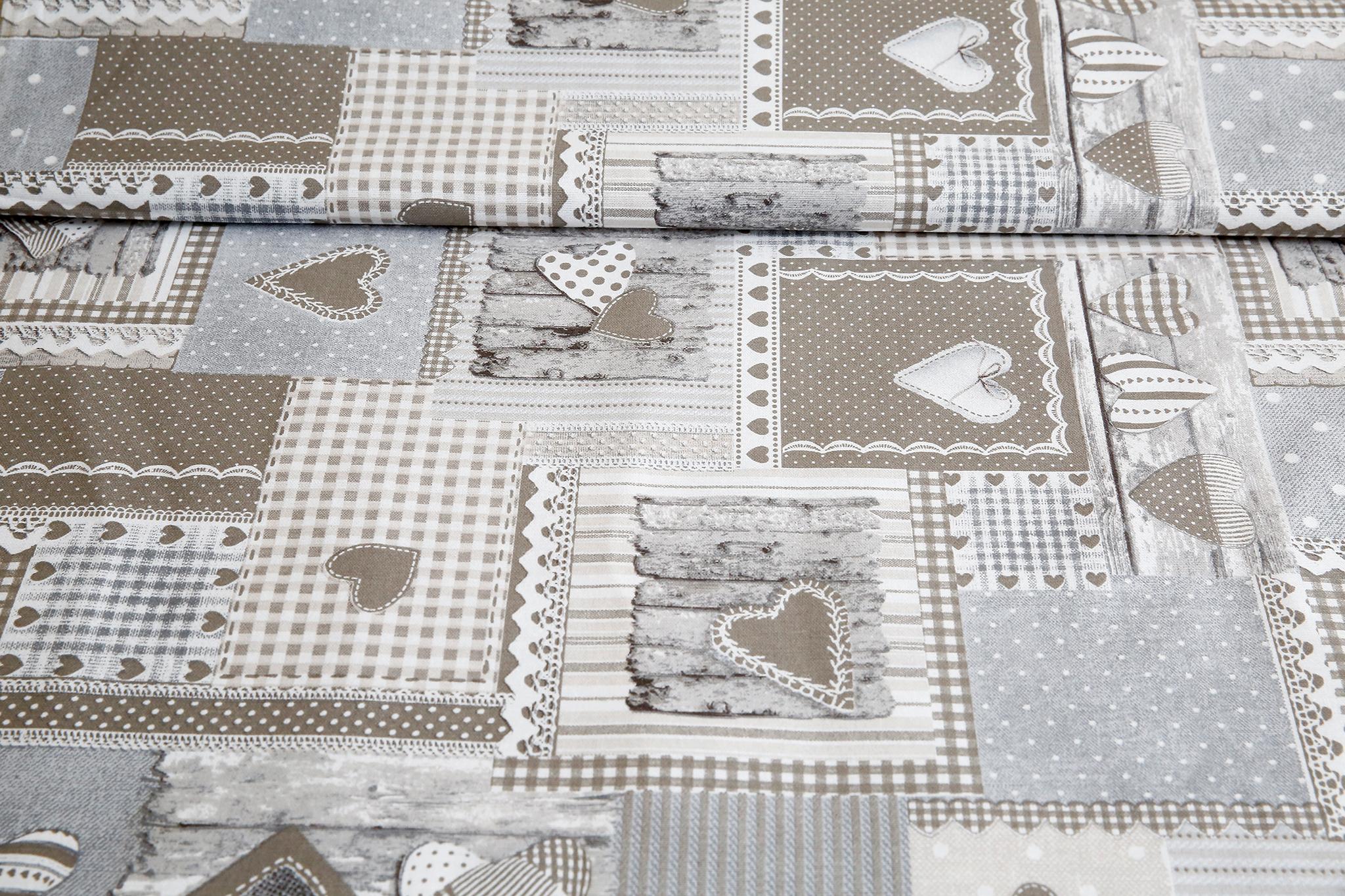 1ad1ca83a5f0 Látka bavlna béžový patchwork so srdiečkami